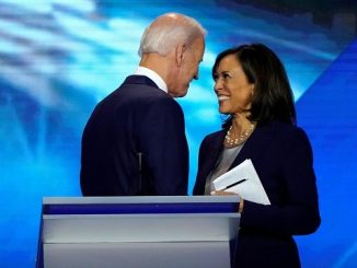 creepy joe biden standing very close to kamala harris after a debate