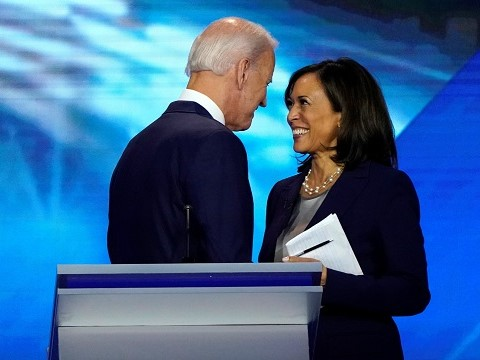 creepy joe biden standing very close to kamala harris after a debate