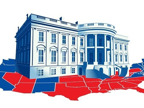 illustration of the white house on top of the us electoral college map