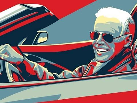 stylized image of joe biden in a convertible for his ridin with biden campaign