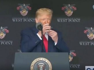 trump holding a glass of water with both hands at west point graduation 2020