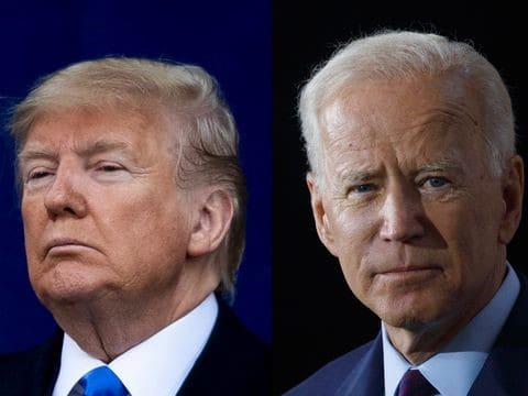 donald trump standing next to joe biden splitscreen