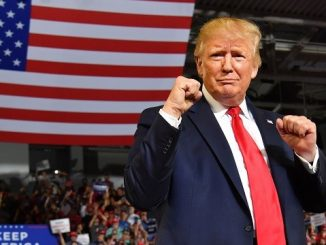 trump standing in front of american flag with his fists up in a boxing pose