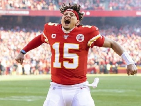 kansas city chiefs quarterback patrick mahomes celebrating on the field