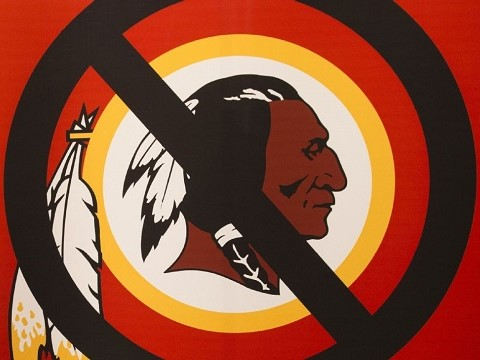 canceled washington redskins logo with a no sign over it