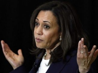 2020 democratic vp nominee kamala harris shrugs at the podium in from of a black background