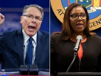 nra ceo wayne lapierre at a podium spliced next to new york ag letitia james at a podium