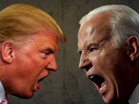mashup image of donald trump and joe biden yelling at each other