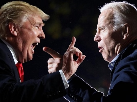 donald trump and joe biden yelling and pointing fingers at each other