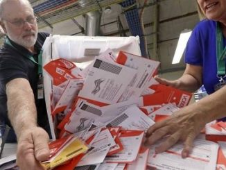poll workers sorting through vote by mail ballots