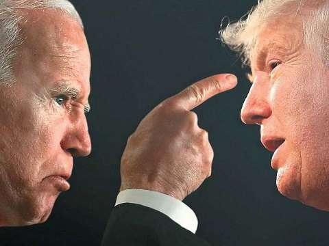 angry joe biden pointing his finger at donald trump