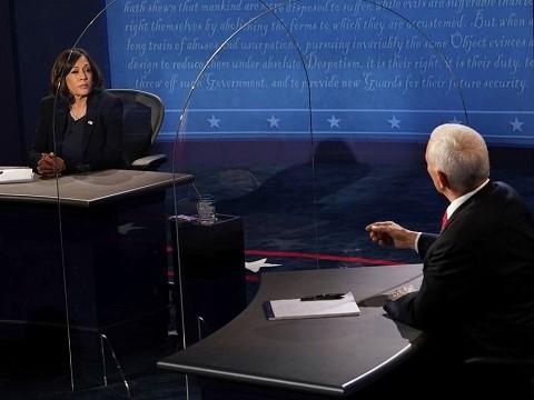 kamala harris and mike pence at the 2020 vice presidential debate