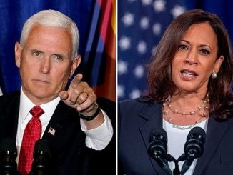 vice president mike pence next to vp candidate kamala harris
