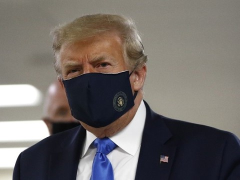 donald trump wearing a covid mask