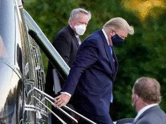 donald trump arrives by helicopter at walter reed hospital after coronavirus diagnosis