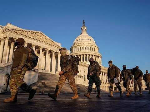 national guard troops patrolling the us capitol ahead of president joe biden inauguration