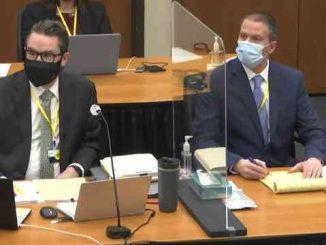 derek chauvin and lawyer in court during george floyd murder trial